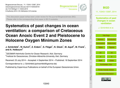 Systematics of Past Changes in Ocean Ven... by Schönfeld, J.