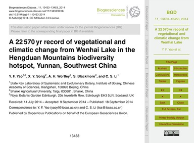 A 22 570 Yr Record of Vegetational and C... by Yao, Y. F.