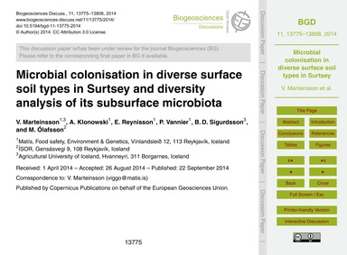 Microbial Colonisation in Diverse Surfac... by Marteinsson, V.