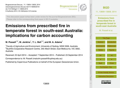 Emissions from Prescribed Fire in Temper... by Possell, M.