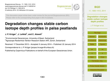 Degradation Changes Stable Carbon Isotop... by Krüger, J. P.