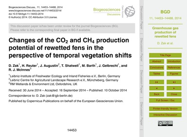 Changes of the Co2 and Ch4 Production Po... by Zak, D.