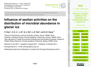 Influence of Aeolian Activities on the D... by Chen, Y.