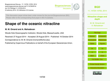 Shape of the Oceanic Nitracline : Volume... by Omand, M. M.