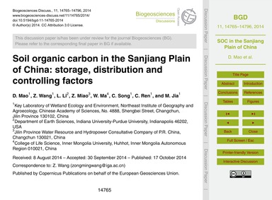 Soil Organic Carbon in the Sanjiang Plai... by Mao, D.