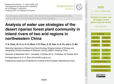 Analysis of Water Use Strategies of the ... by Chen, Y. N.