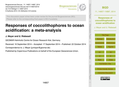 Responses of Coccolithophores to Ocean A... by Meyer, J.