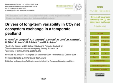 Drivers of Long-term Variability in Co2 ... by Helfter, C.