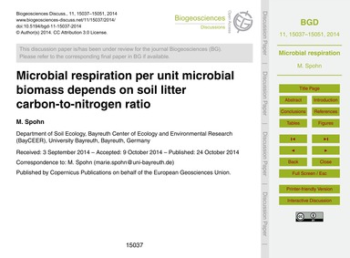 Microbial Respiration Per Unit Microbial... by Spohn, M.
