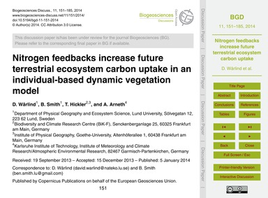 Nitrogen Feedbacks Increase Future Terre... by Wårlind, D.