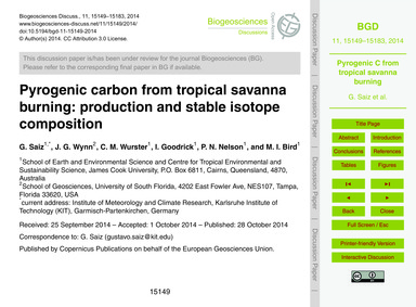 Pyrogenic Carbon from Tropical Savanna B... by Saiz, G.