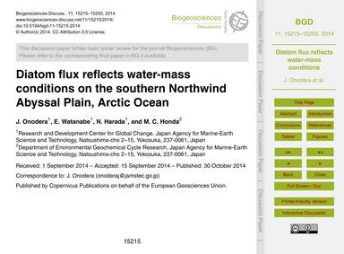 Diatom Flux Reflects Water-mass Conditio... by Onodera, J.