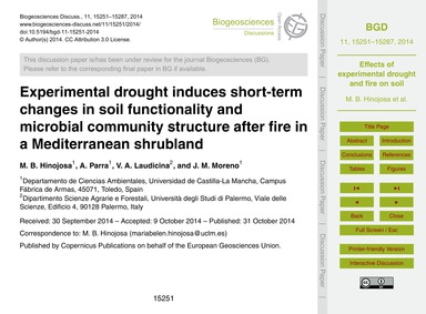 Experimental Drought Induces Short-term ... by Hinojosa, M. B.