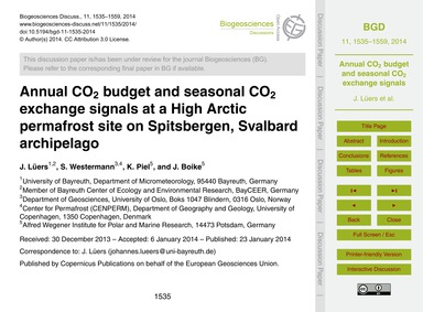 Annual Co2 Budget and Seasonal Co2 Excha... by Lüers, J.