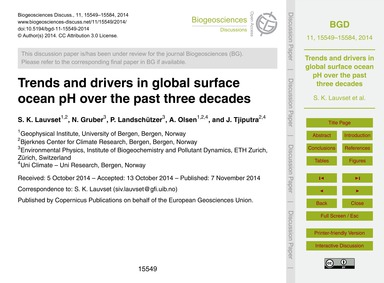 Trends and Drivers in Global Surface Oce... by Lauvset, S. K.