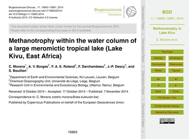 Methanotrophy Within the Water Column of... by Morana, C.