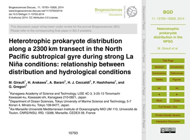 Heterotrophic Prokaryote Distribution Al... by Girault, M.
