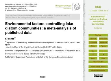 Environmental Factors Controlling Lake D... by Blanco, S.