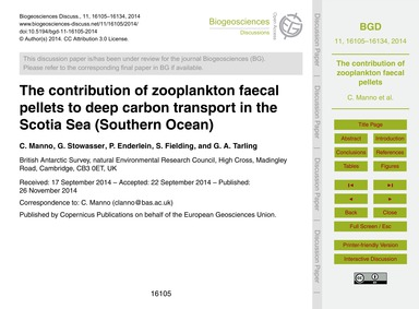 The Contribution of Zooplankton Faecal P... by Manno, C.