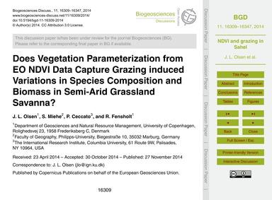 Does Vegetation Parameterization from Eo... by Olsen, J. L.