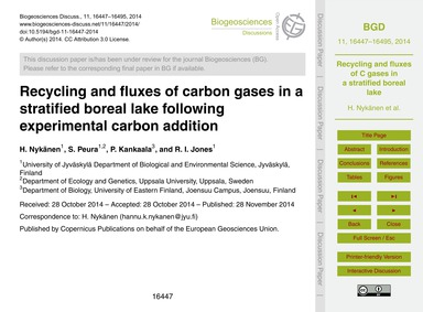 Recycling and Fluxes of Carbon Gases in ... by Nykänen, H.