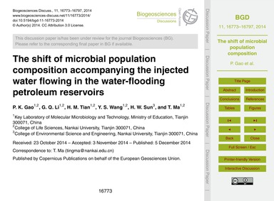 The Shift of Microbial Population Compos... by Gao, P. K.
