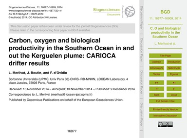 Carbon, Oxygen and Biological Productivi... by Merlivat, L.