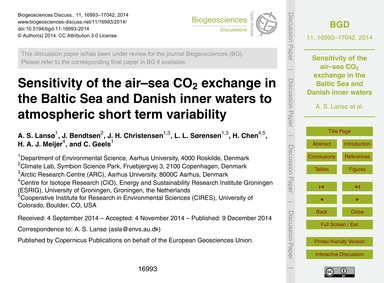 Sensitivity of the Air–sea Co2 Exchange ... by Lansø, A. S.