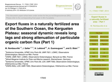Export Fluxes in a Naturally Fertilized ... by Rembauville, M.
