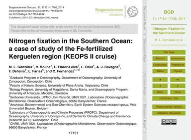 Nitrogen Fixation in the Southern Ocean:... by González, M. L.