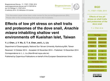 Effects of Low Ph Stress on Shell Traits... by Chen, Y. J.
