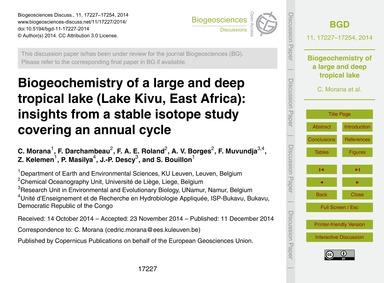 Biogeochemistry of a Large and Deep Trop... by Morana, C.