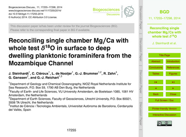 Reconciling Single Chamber Mg/CA with Wh... by Steinhardt, J.