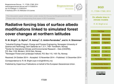 Radiative Forcing Bias of Surface Albedo... by Bright, R. M.