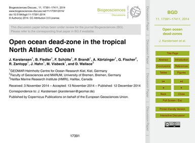 Open Ocean Dead-zone in the Tropical Nor... by Karstensen, J.