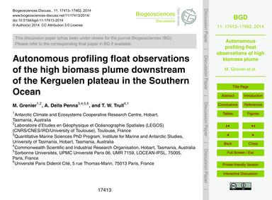Autonomous Profiling Float Observations ... by Grenier, M.