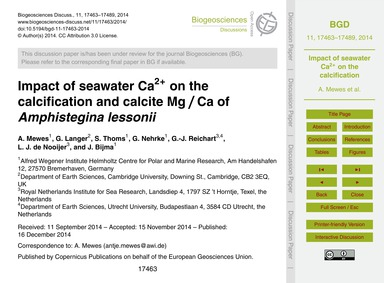 Impact of Seawater CA2+ on the Calcifica... by Mewes, A.