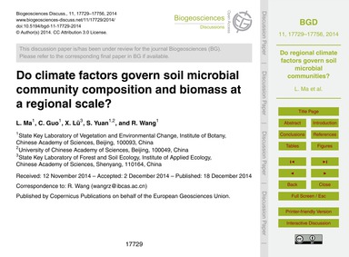 Do Climate Factors Govern Soil Microbial... by Ma, L.