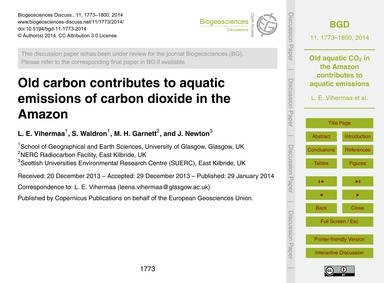 Old Carbon Contributes to Aquatic Emissi... by Vihermaa, L. E.
