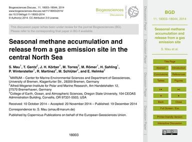 Seasonal Methane Accumulation and Releas... by Mau, S.