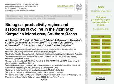 Biological Productivity Regime and Assoc... by Cavagna, A. J.