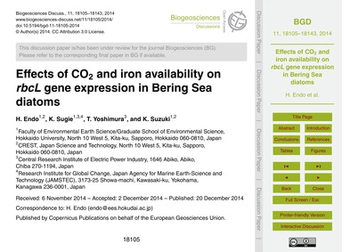 Effects of Co2 and Iron Availability on ... by Endo, H.