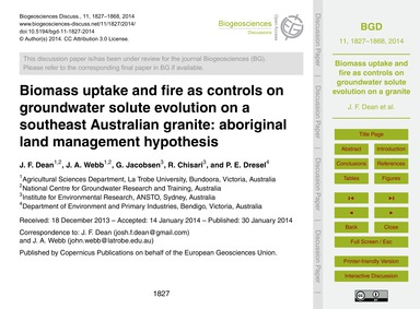 Biomass Uptake and Fire as Controls on G... by Dean, J. F.