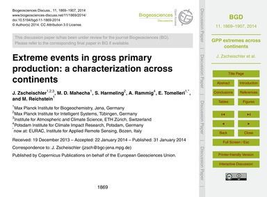 Extreme Events in Gross Primary Producti... by Zscheischler, J.