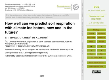 How Well Can We Predict Soil Respiration... by Berridge, C. T.