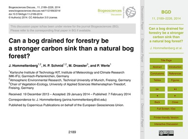 Can a Bog Drained for Forestry Be a Stro... by Hommeltenberg, J.