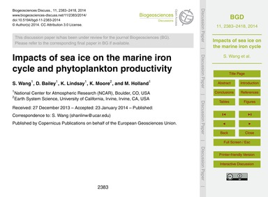 Impacts of Sea Ice on the Marine Iron Cy... by Wang, S.