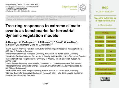 Tree-ring Responses to Extreme Climate E... by Rammig, A.