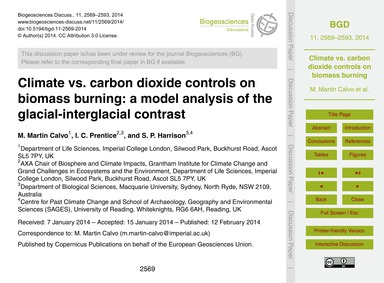 Climate Vs. Carbon Dioxide Controls on B... by Martin Calvo, M.