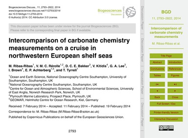 Intercomparison of Carbonate Chemistry M... by Ribas-ribas, M.